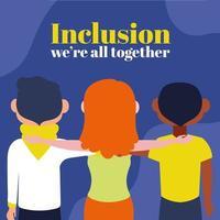 grupp av interracial människor, inkludering koncept