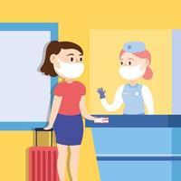 Reisesicheres Kampagnenplakat mit einer Reisenden, die eine Gesichtsmaske am Check-in-Punkt trägt vektor