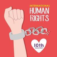Menschenrechtskampagne Schriftzug mit Hand brechen Ketten vektor