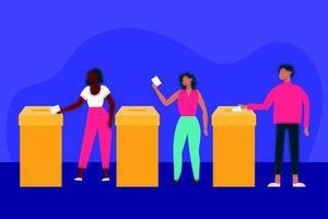 Wahltag und Demokratiekonzept mit Menschen, die wählen vektor