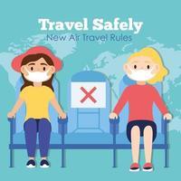 Reisen Sie sicher Kampagnen-Beschriftungsplakat mit Passagieren, die medizinische Masken in Flugzeugstühlen tragen vektor