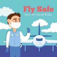 Fly Safe Kampagne Schriftzug Poster mit Stewardess und Flugzeug vektor