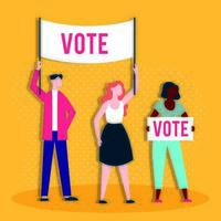 Wahltag Demokratie mit Menschen und Banner Abstimmung Worte vektor
