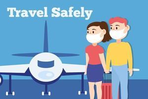 Reise sicher Kampagne Schriftzug Poster mit Reisenden Paar tragen medizinische Masken und Flugzeug vektor