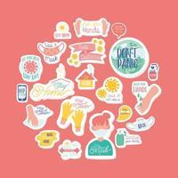 uppsättning kampanjbokstäver och ikoner vektor