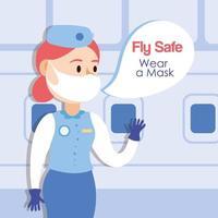 Fly Safe Kampagne Schriftzug Poster mit Stewardess sprechen vektor