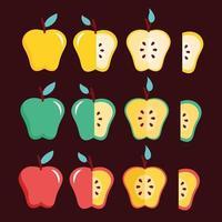 äpplen hälsosam mat Ikonuppsättning vektor