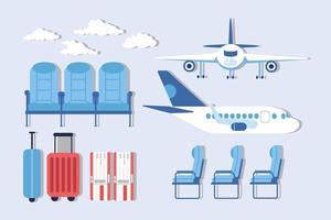 Satz von Flughafen- und Flugzeugsymbolen vektor