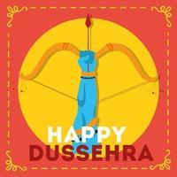 Fröhliche Dussehra-Feier mit Lord Rama Hand und Bogenwaffe vektor