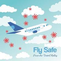 Fly Safe Kampagne Schriftzug Poster mit Flugzeug fliegen und covid19 Partikel vektor