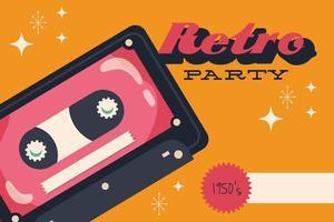 Partyplakat im Retro-Stil mit Kassette und Schriftzug vektor