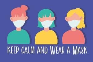 Tragen Sie eine Gesichtsmasken-Schriftzugskampagne mit jungen Frauen vektor