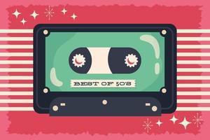 retrostil festaffisch med kassettband vektor