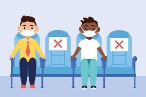 Reisesicheres Kampagnenplakat mit Passagieren, die medizinische Masken tragen vektor