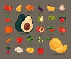 Bündel von vierundzwanzig frischem Obst und Gemüse, Ikonen für gesunde Ernährung vektor