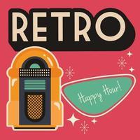 Partyplakat im Retro-Stil mit Musik-Jukebox vektor