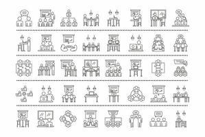 bunt av fyrtio arbetare avatarer, coworking linje stil ikoner vektor