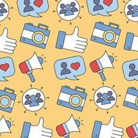 mönster av sociala medier linje och fylla stil mönster bakgrund vektor