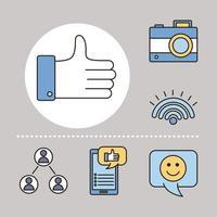 bunt med sex sociala medie- och fyllningsstilikoner vektor