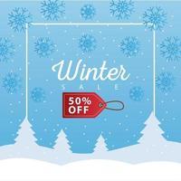 großes Winterverkaufsplakat mit dem Tag, der in der Schneelandschaft hängt vektor