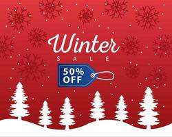 stor vinterförsäljningsaffisch med blå tagg hängande i snölandskap vektor