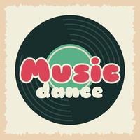 retrostil festaffisch med musikvinylskiva vektor