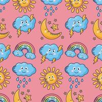 kawaii väder komiska tecken mönster bakgrund