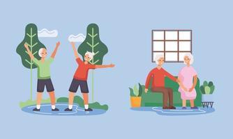 aktiva seniorpar i lägret och karaktärerna i vardagsrummet vektor