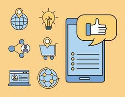 sociala medier linje och fyll stil ikoner vektor