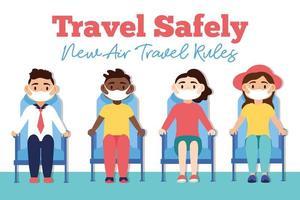 Reisen Sie sicher Kampagnen-Beschriftungsplakat mit Passagieren, die medizinische Masken in Wartezimmerstühlen tragen vektor