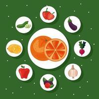 bunt med nio färska frukter och grönsaker, hälsosam mat ikoner vektor