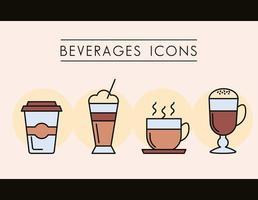 uppsättning kaffe drycker ikoner vektor