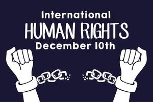 Menschenrechtskampagne Schriftzug mit Händen Ketten brechen vektor