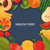frisches Obst und Gemüse, gesunder Lebensmittelrahmen mit Schriftzug vektor