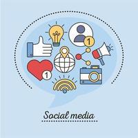 bunt med sociala medier linje och fyll stil ikoner vektor
