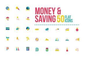 pengar och besparingar platt-stil ikonuppsättning vektor