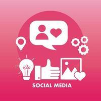 bunt med sju sociala medier block stil ikoner vektor