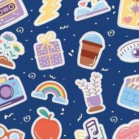 söt mönster bakgrund med hype ikoner vektor