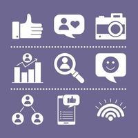 bunt med sex sociala medier block stil ikoner vektor