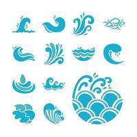 vågor och vatten ikonuppsättning vektor
