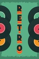 retrostil festaffisch med vinylskivor vektor