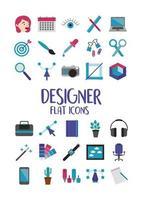 Designer Flat Icon Set vektor