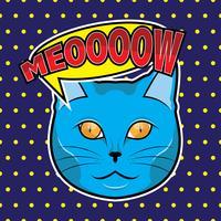 katt ansikte popkonst illustration