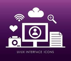 Desktop- und Interface-Silhouette-Stilsymbole
