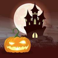 Halloween dunkle Nachtszene mit Kürbis und Schloss vektor