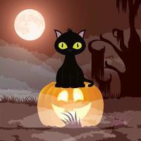 Halloween dunkle Nachtszene mit Kürbis und Katze vektor