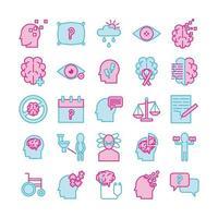 alzheimers sjukdom ikonuppsättning vektor