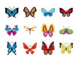 söta fjärilar platt ikonuppsättning vektor