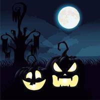 Halloween dunkle Nachtszene mit Kürbissen vektor