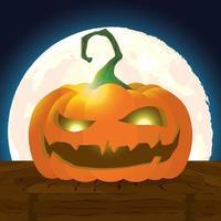 Halloween dunkle Nachtszene mit Kürbis vektor